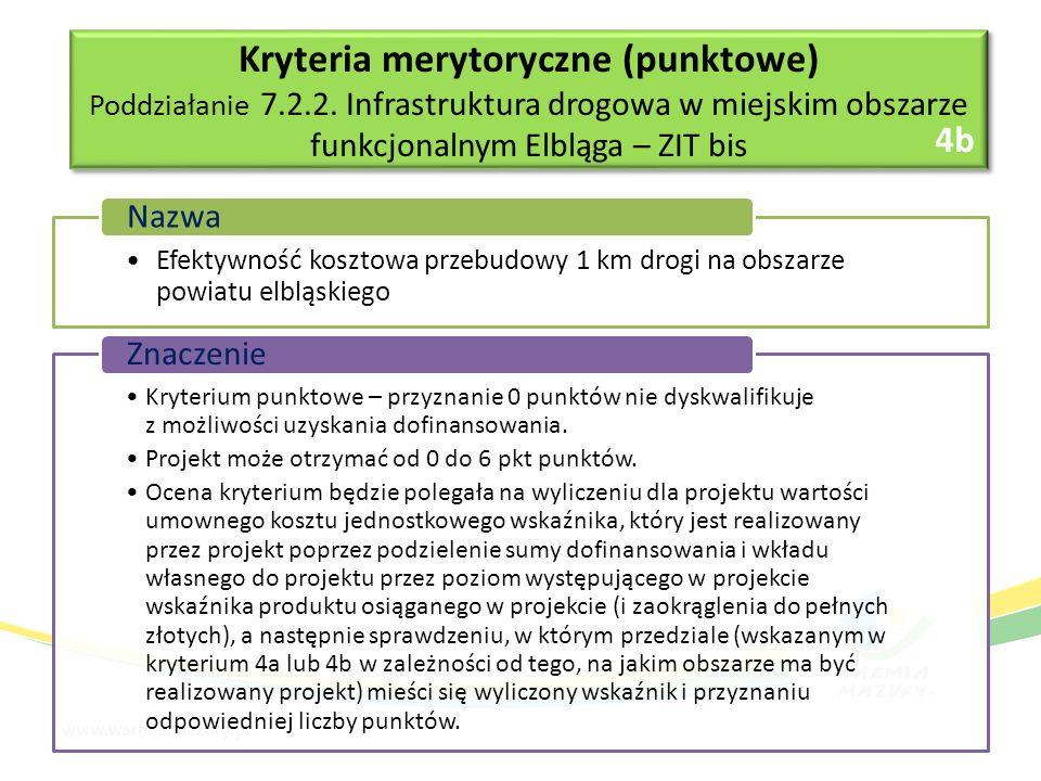 Efektywność kosztowa przebudowy 1 km drogi na obszarze powiatu elbląskiego Nazwa Kryterium punktowe – przyznanie 0 punktów nie dyskwalifikuje z możliwości uzyskania dofinansowania.