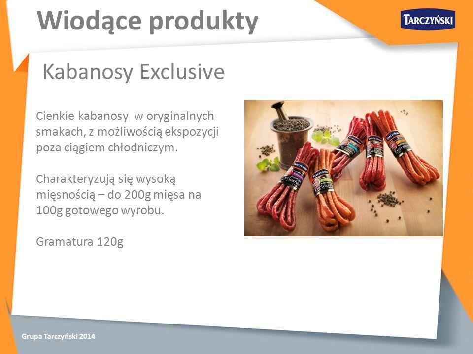 Grupa Tarczyński 2014 Wiodące produkty Kabanosy Exclusive Cienkie kabanosy w oryginalnych smakach, z możliwością ekspozycji poza ciągiem chłodniczym.