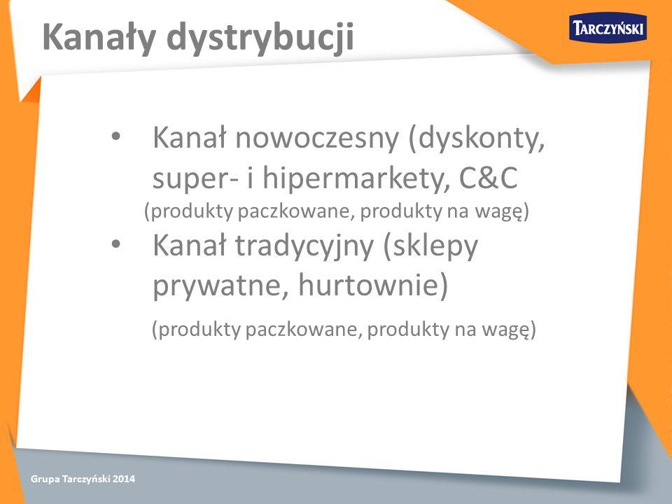 Grupa Tarczyński 2014 Kanały dystrybucji Kanał nowoczesny (dyskonty, super- i hipermarkety, C&C (produkty paczkowane, produkty na wagę) Kanał tradycyjny (sklepy prywatne, hurtownie) (produkty paczkowane, produkty na wagę)