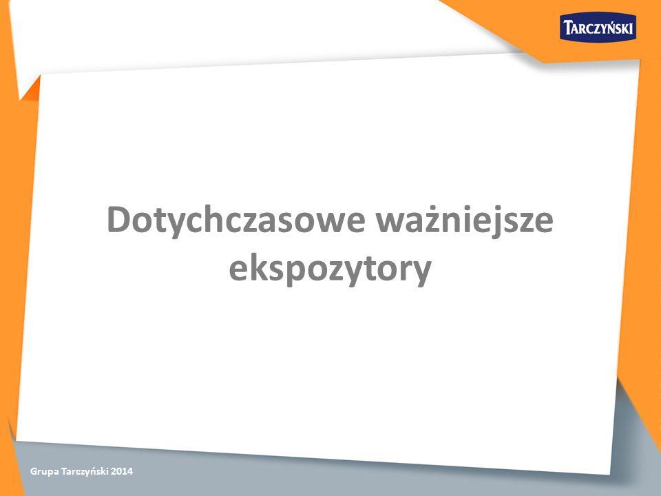 Grupa Tarczyński 2014 Dotychczasowe ważniejsze ekspozytory