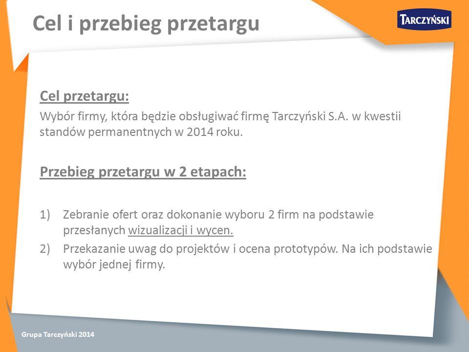 Grupa Tarczyński 2014 Cel przetargu: Wybór firmy, która będzie obsługiwać firmę Tarczyński S.A.