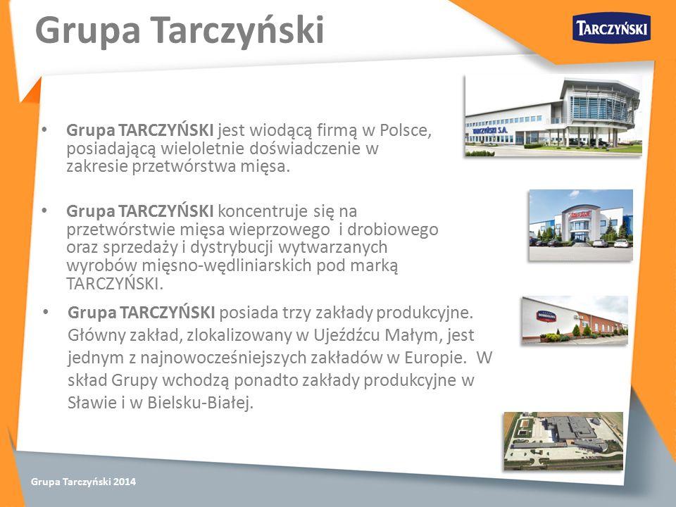 Grupa Tarczyński 2014 Grupa TARCZYŃSKI jest wiodącą firmą w Polsce, posiadającą wieloletnie doświadczenie w zakresie przetwórstwa mięsa.