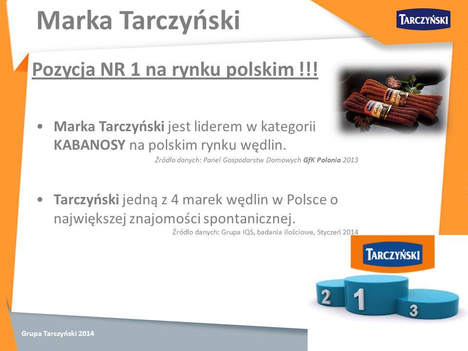 Grupa Tarczyński 2014 Marka Tarczyński Pozycja NR 1 na rynku polskim !!.