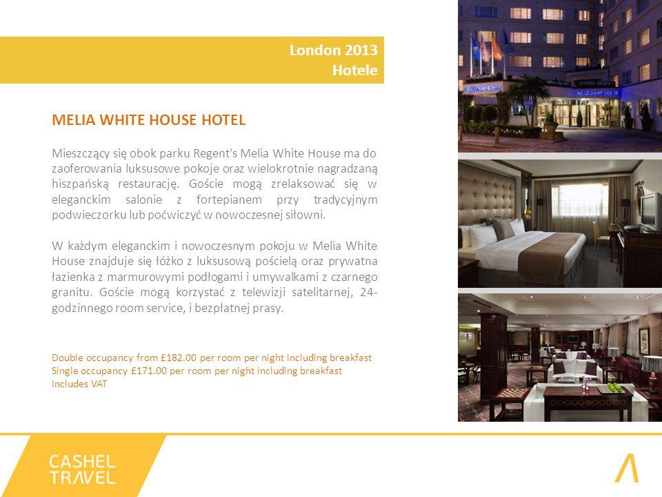 MELIA WHITE HOUSE HOTEL Mieszczący się obok parku Regent s Melia White House ma do zaoferowania luksusowe pokoje oraz wielokrotnie nagradzaną hiszpańską restaurację.