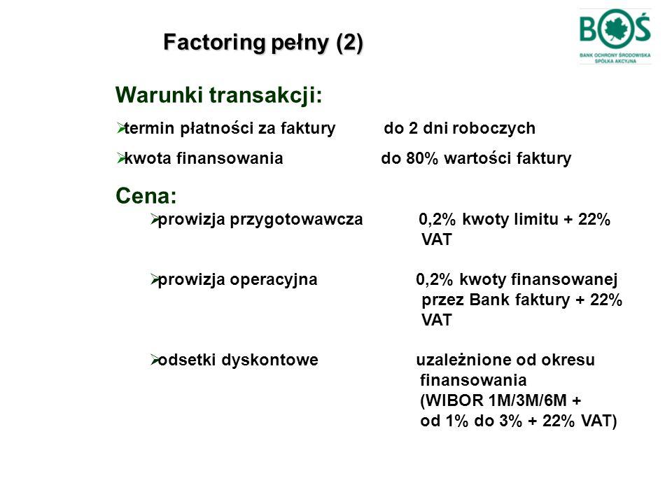 Factoring pełny (2) Warunki transakcji:  termin płatności za faktury do 2 dni roboczych  kwota finansowania do 80% wartości faktury Cena:  prowizja