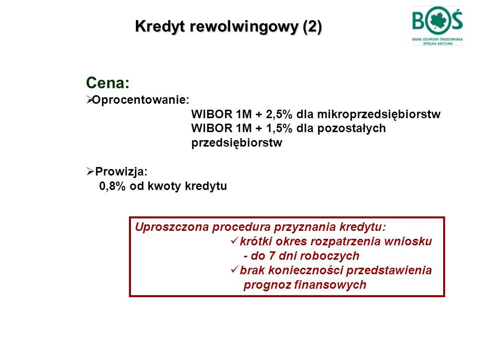 Kredyt rewolwingowy (2) Cena:  Oprocentowanie: WIBOR 1M + 2,5% dla mikroprzedsiębiorstw WIBOR 1M + 1,5% dla pozostałych przedsiębiorstw  Prowizja: 0
