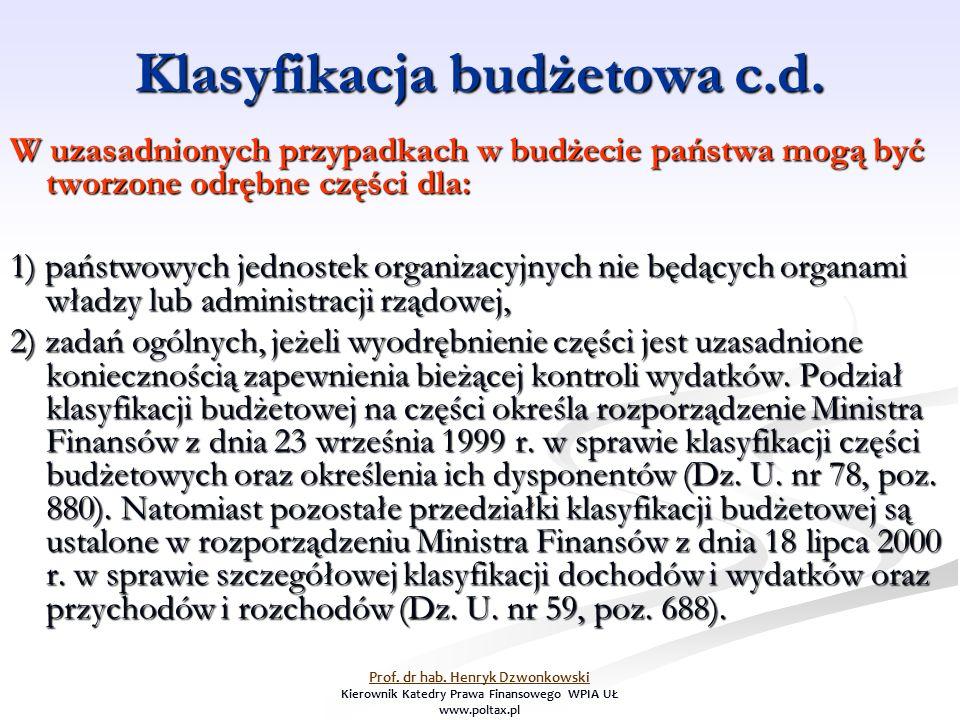 Klasyfikacja budżetowa c.d. W uzasadnionych przypadkach w budżecie państwa mogą być tworzone odrębne części dla: 1) państwowych jednostek organizacyjn