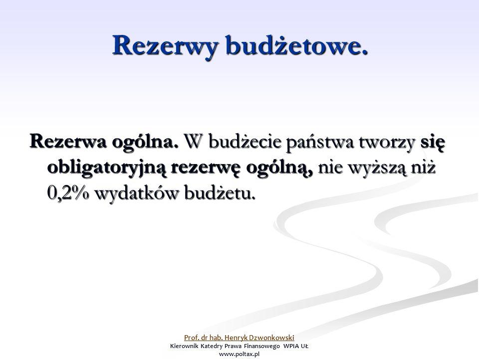 Rezerwy budżetowe. Rezerwa ogólna. W budżecie państwa tworzy się obligatoryjną rezerwę ogólną, nie wyższą niż 0,2% wydatków budżetu. Prof. dr hab. Hen