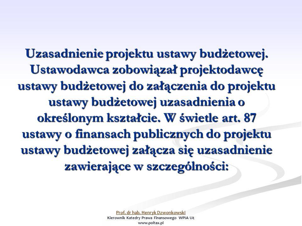 Uzasadnienie projektu ustawy budżetowej.