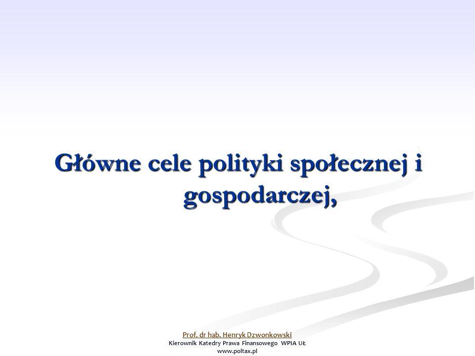 Główne cele polityki społecznej i gospodarczej, Prof. dr hab. Henryk Dzwonkowski Kierownik Katedry Prawa Finansowego WPIA UŁ www.poltax.pl