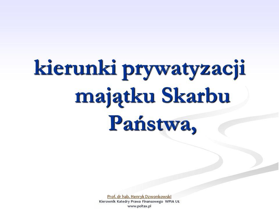 kierunki prywatyzacji majątku Skarbu Państwa, Prof. dr hab. Henryk Dzwonkowski Kierownik Katedry Prawa Finansowego WPIA UŁ www.poltax.pl