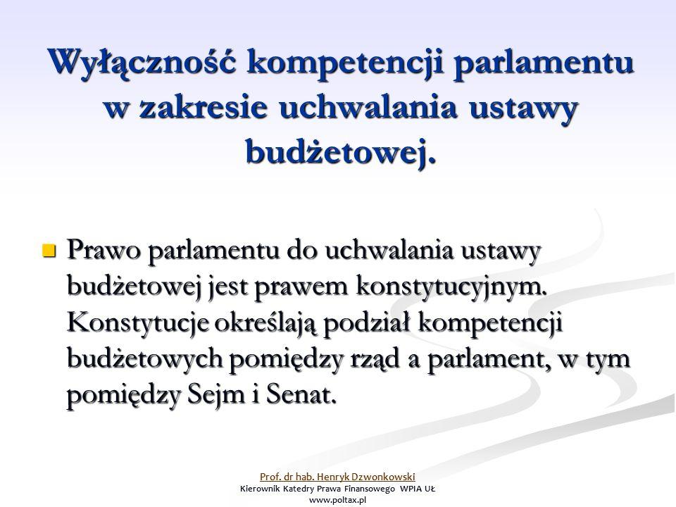 Wyłączność kompetencji parlamentu w zakresie uchwalania ustawy budżetowej.