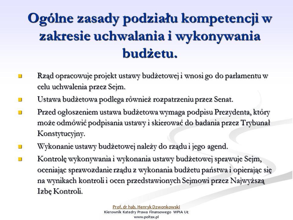 Ogólne zasady podziału kompetencji w zakresie uchwalania i wykonywania budżetu. Rząd opracowuje projekt ustawy budżetowej i wnosi go do parlamentu w c