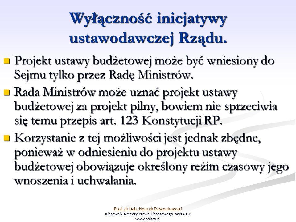 Wyłączność inicjatywy ustawodawczej Rządu. Projekt ustawy budżetowej może być wniesiony do Sejmu tylko przez Radę Ministrów. Projekt ustawy budżetowej