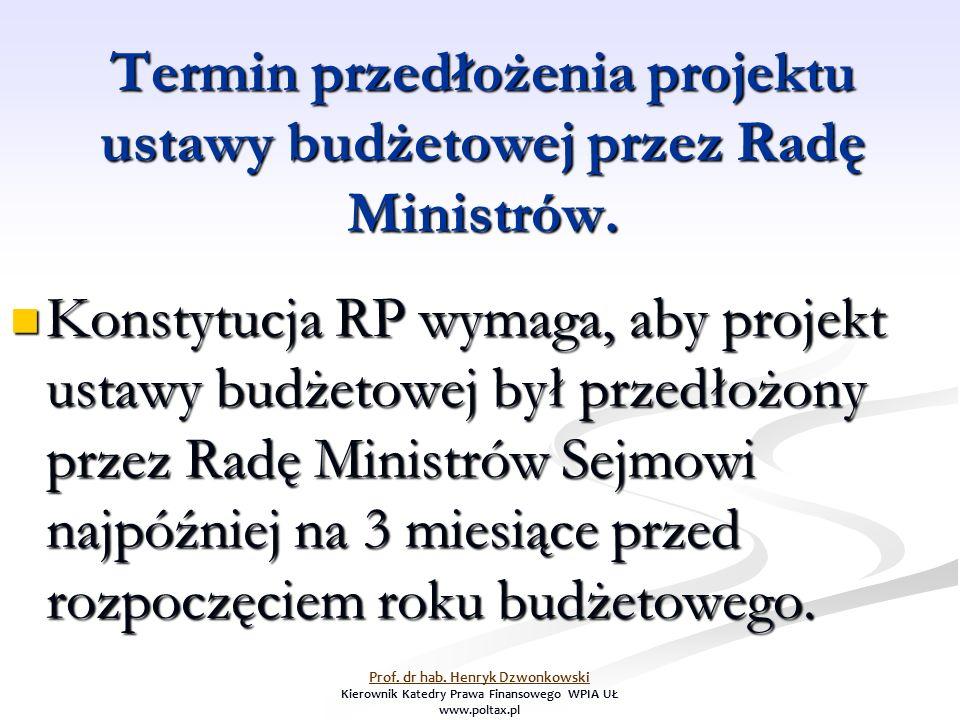 Termin przedłożenia projektu ustawy budżetowej przez Radę Ministrów.