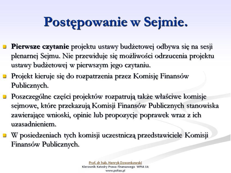 Postępowanie w Sejmie. Pierwsze czytanie projektu ustawy budżetowej odbywa się na sesji plenarnej Sejmu. Nie przewiduje się możliwości odrzucenia proj