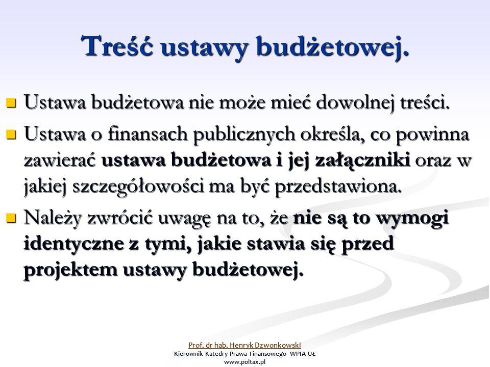 Treść ustawy budżetowej. Ustawa budżetowa nie może mieć dowolnej treści.
