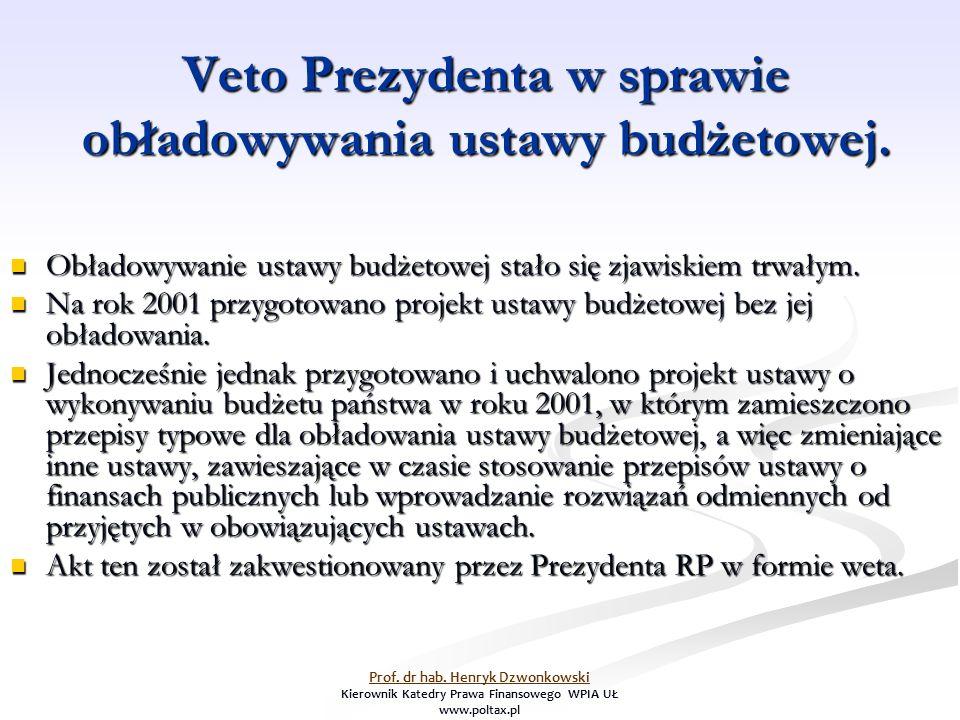 Veto Prezydenta w sprawie obładowywania ustawy budżetowej.
