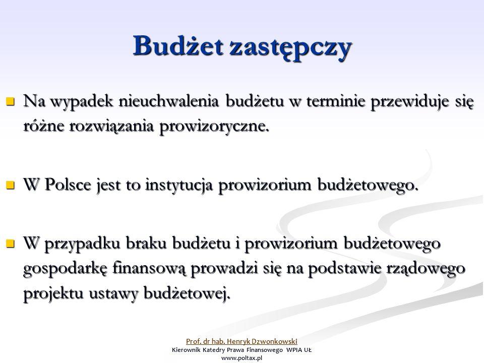 Budżet zastępczy Na wypadek nieuchwalenia budżetu w terminie przewiduje się różne rozwiązania prowizoryczne.