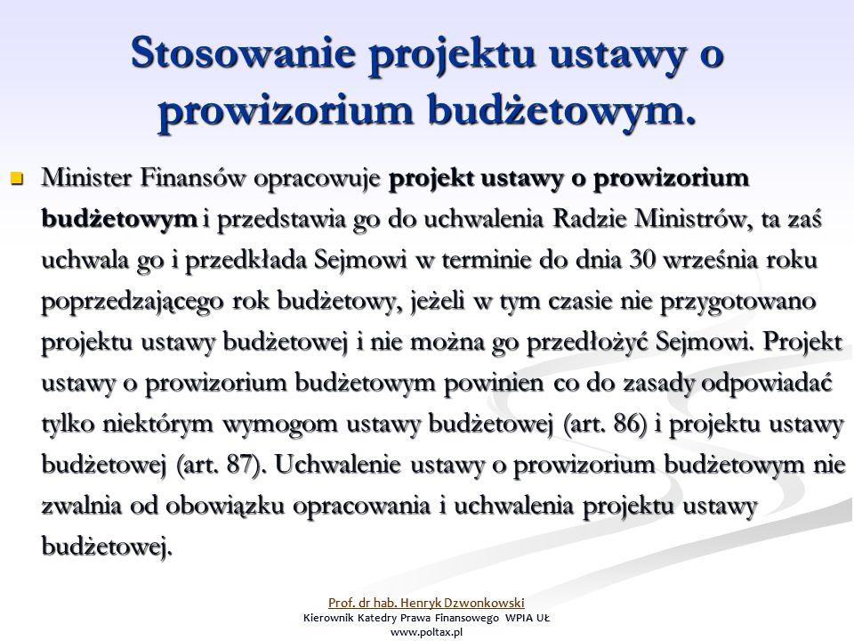 Stosowanie projektu ustawy o prowizorium budżetowym. Minister Finansów opracowuje projekt ustawy o prowizorium budżetowym i przedstawia go do uchwalen