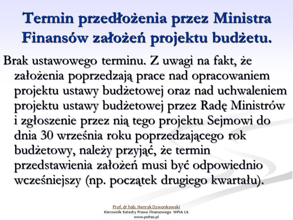 Termin przedłożenia przez Ministra Finansów założeń projektu budżetu. Brak ustawowego terminu. Z uwagi na fakt, że założenia poprzedzają prace nad opr