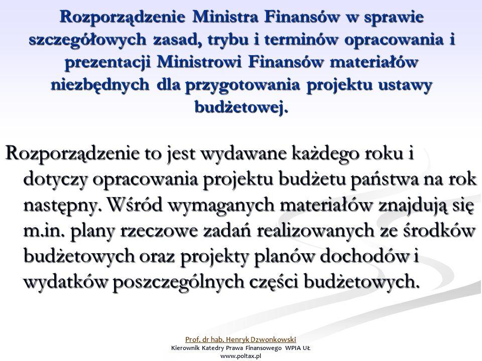 Na podstawie wytycznych zawartych w rozporządzeniu Ministra Finansów odbywają się prace budżetowe, które umożliwiają sporządzenie przez Ministra Finansów całościowego projektu ustawy budżetowej.