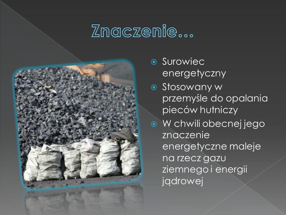  Surowiec energetyczny  Stosowany w przemyśle do opalania pieców hutniczy  W chwili obecnej jego znaczenie energetyczne maleje na rzecz gazu ziemnego i energii jądrowej