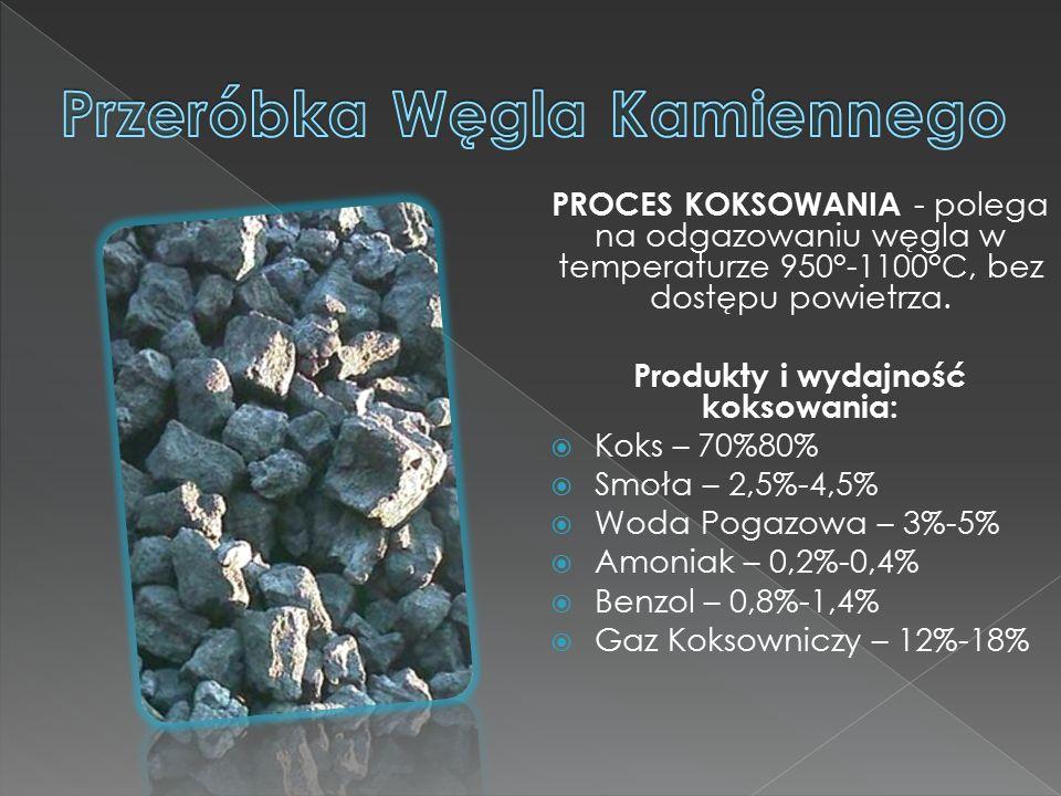 PROCES KOKSOWANIA - polega na odgazowaniu węgla w temperaturze 950°-1100°C, bez dostępu powietrza.