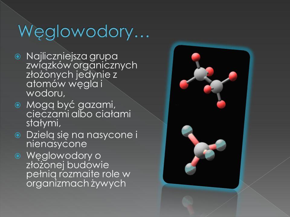  Najliczniejsza grupa związków organicznych złożonych jedynie z atomów węgla i wodoru,  Mogą być gazami, cieczami albo ciałami stałymi,  Dzielą się na nasycone i nienasycone  Węglowodory o złożonej budowie pełnią rozmaite role w organizmach żywych