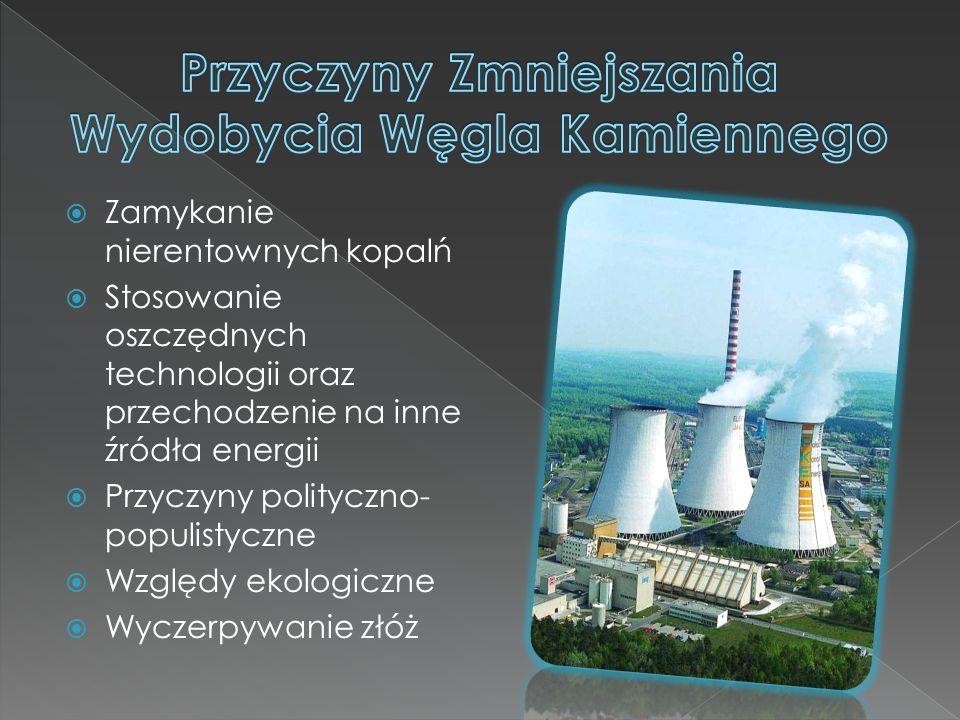  Zamykanie nierentownych kopalń  Stosowanie oszczędnych technologii oraz przechodzenie na inne źródła energii  Przyczyny polityczno- populistyczne  Względy ekologiczne  Wyczerpywanie złóż