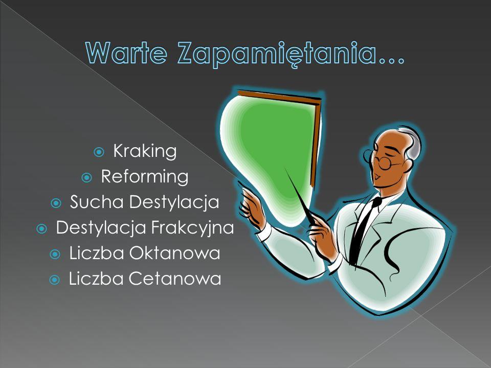  Kraking  Reforming  Sucha Destylacja  Destylacja Frakcyjna  Liczba Oktanowa  Liczba Cetanowa