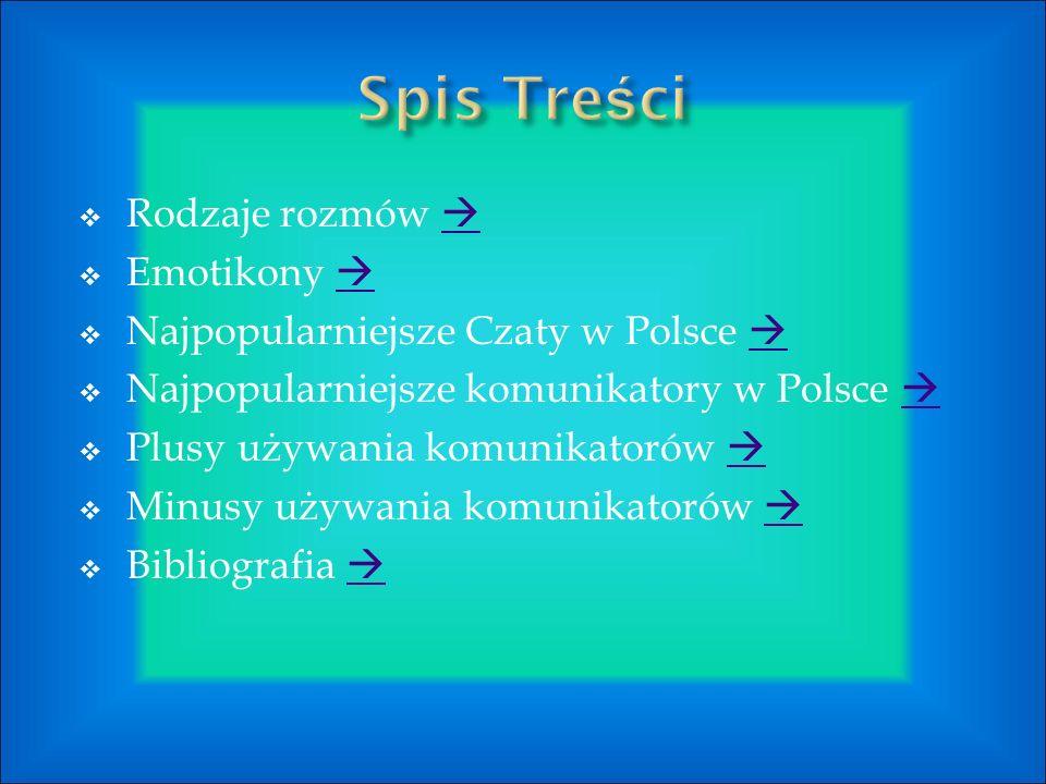  Rodzaje rozmów    Emotikony    Najpopularniejsze Czaty w Polsce    Najpopularniejsze komunikatory w Polsce    Plusy używania komunikatorów    Minusy używania komunikatorów    Bibliografia  
