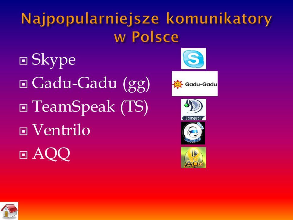  Skype  Gadu-Gadu (gg)  TeamSpeak (TS)  Ventrilo  AQQ