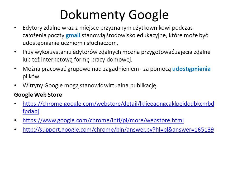 Dokumenty Google Edytory zdalne wraz z miejsce przyznanym użytkownikowi podczas założenia poczty gmail stanowią środowisko edukacyjne, które może być udostępnianie uczniom i słuchaczom.