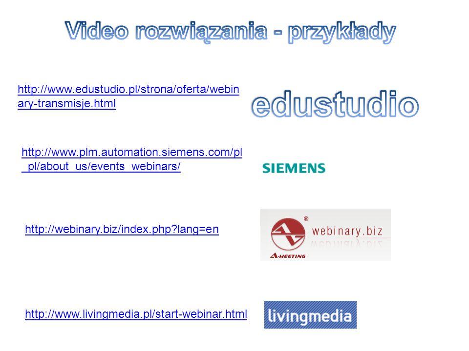 http://www.edustudio.pl/strona/oferta/webin ary-transmisje.html http://www.plm.automation.siemens.com/pl _pl/about_us/events_webinars/ http://webinary.biz/index.php?lang=en http://www.livingmedia.pl/start-webinar.html