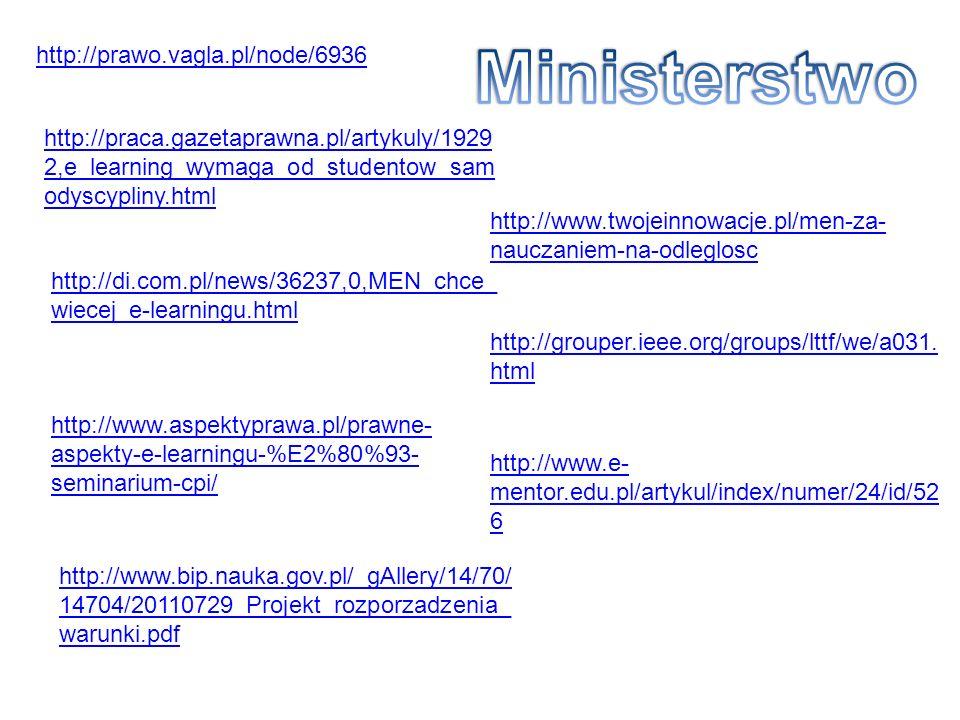 http://prawo.vagla.pl/node/6936 http://praca.gazetaprawna.pl/artykuly/1929 2,e_learning_wymaga_od_studentow_sam odyscypliny.html http://di.com.pl/news/36237,0,MEN_chce_ wiecej_e-learningu.html http://www.aspektyprawa.pl/prawne- aspekty-e-learningu-%E2%80%93- seminarium-cpi/ http://www.twojeinnowacje.pl/men-za- nauczaniem-na-odleglosc http://grouper.ieee.org/groups/lttf/we/a031.