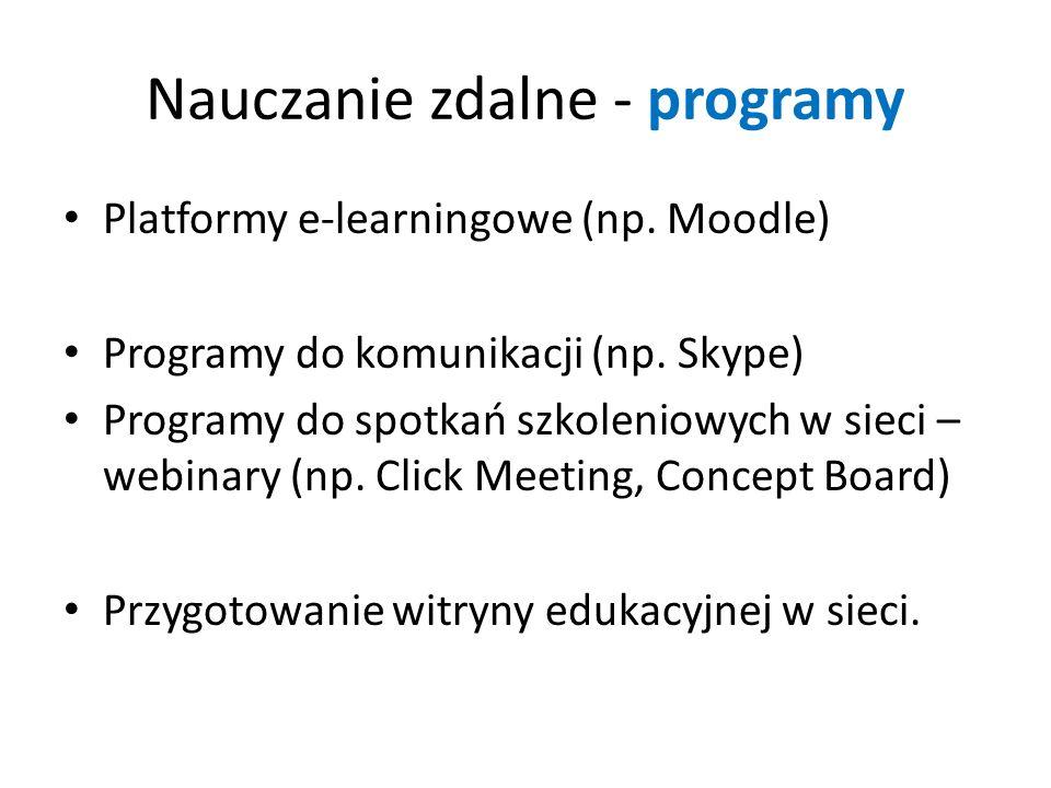 Nauczanie zdalne - programy Platformy e-learningowe (np. Moodle) Programy do komunikacji (np. Skype) Programy do spotkań szkoleniowych w sieci – webin