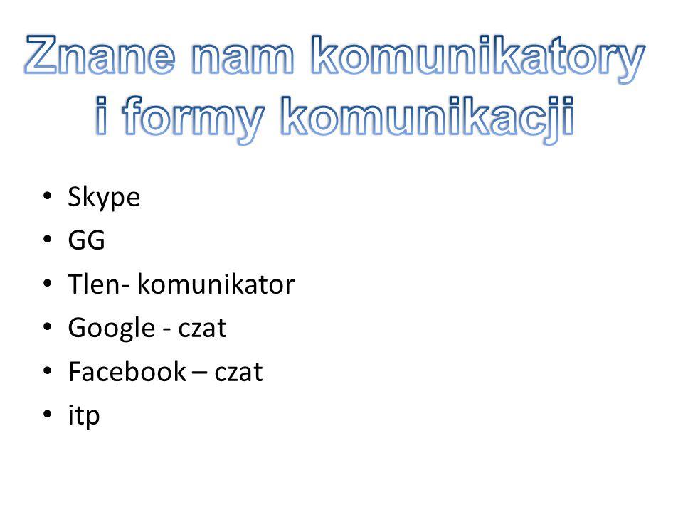Skype GG Tlen- komunikator Google - czat Facebook – czat itp