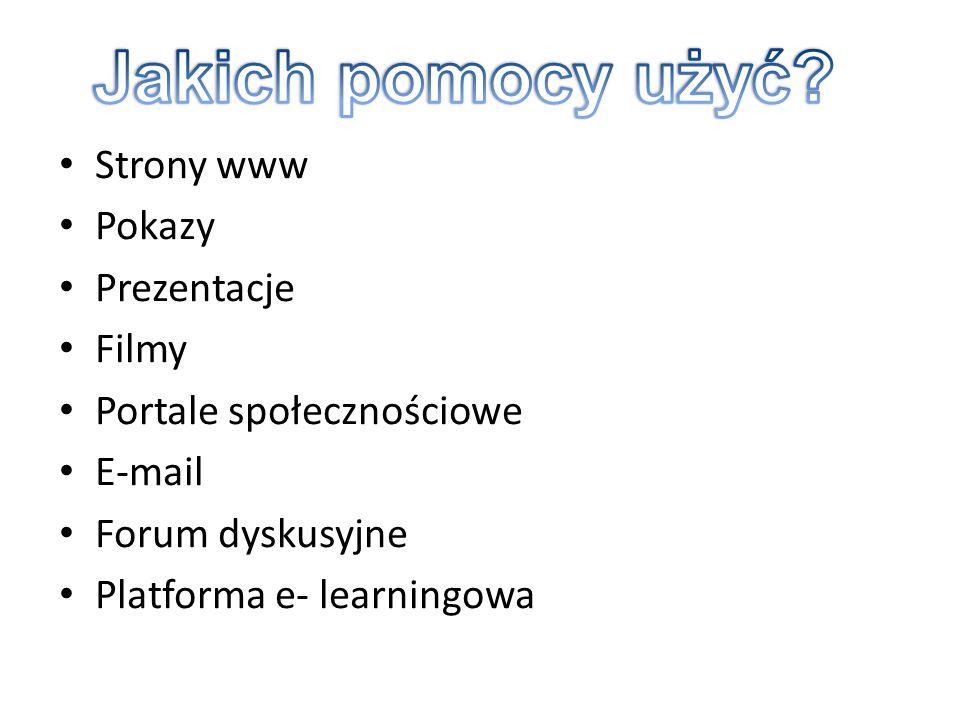 Strony www Pokazy Prezentacje Filmy Portale społecznościowe E-mail Forum dyskusyjne Platforma e- learningowa