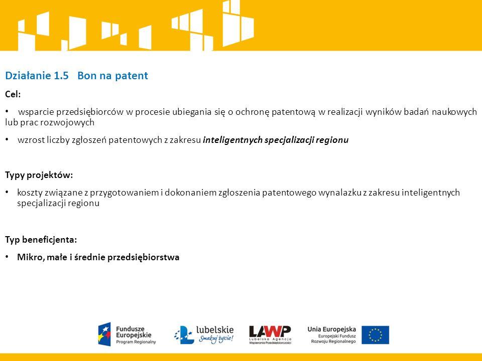 Działanie 1.5 Bon na patent Cel: wsparcie przedsiębiorców w procesie ubiegania się o ochronę patentową w realizacji wyników badań naukowych lub prac rozwojowych wzrost liczby zgłoszeń patentowych z zakresu inteligentnych specjalizacji regionu Typy projektów: koszty związane z przygotowaniem i dokonaniem zgłoszenia patentowego wynalazku z zakresu inteligentnych specjalizacji regionu Typ beneficjenta: Mikro, małe i średnie przedsiębiorstwa