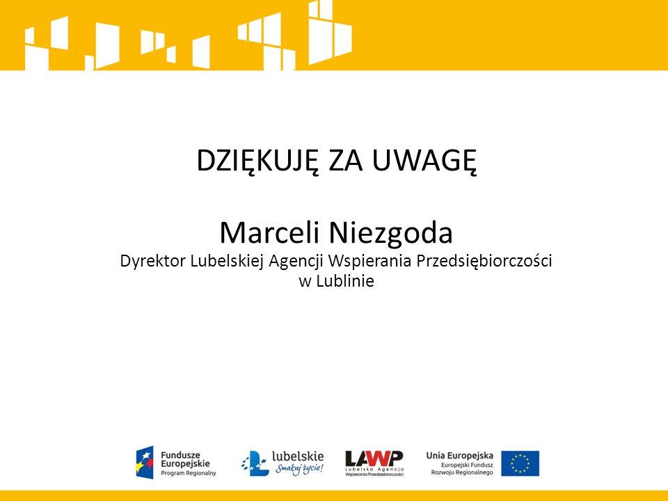 DZIĘKUJĘ ZA UWAGĘ Marceli Niezgoda Dyrektor Lubelskiej Agencji Wspierania Przedsiębiorczości w Lublinie