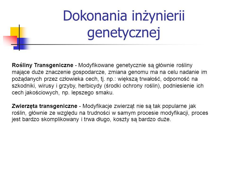 Rośliny Transgeniczne - Modyfikowane genetycznie są głównie rośliny mające duże znaczenie gospodarcze, zmiana genomu ma na celu nadanie im pożądanych