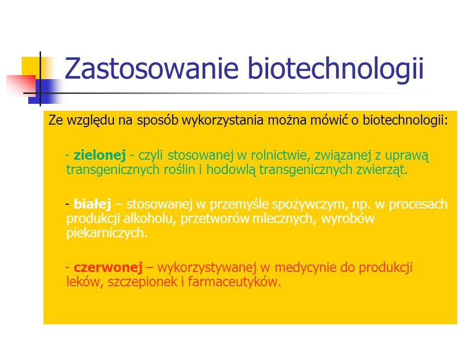Zastosowanie biotechnologii Ze względu na sposób wykorzystania można mówić o biotechnologii: - zielonej - czyli stosowanej w rolnictwie, związanej z u