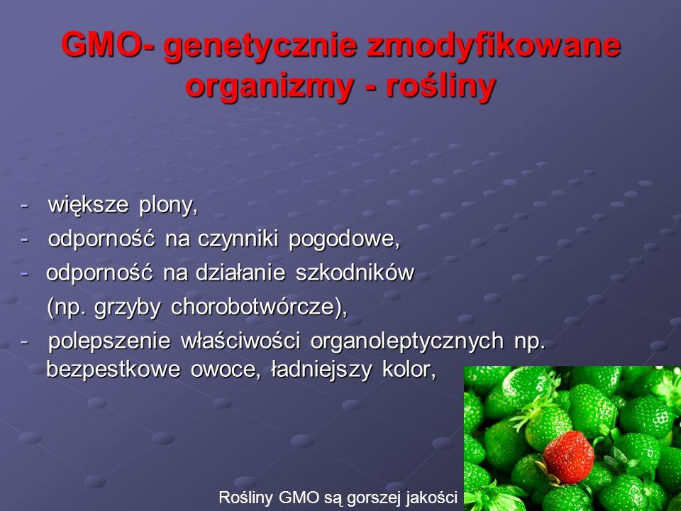 GMO- genetycznie zmodyfikowane organizmy - rośliny - większe plony, - odporność na czynniki pogodowe, -odporność na działanie szkodników (np. grzyby c