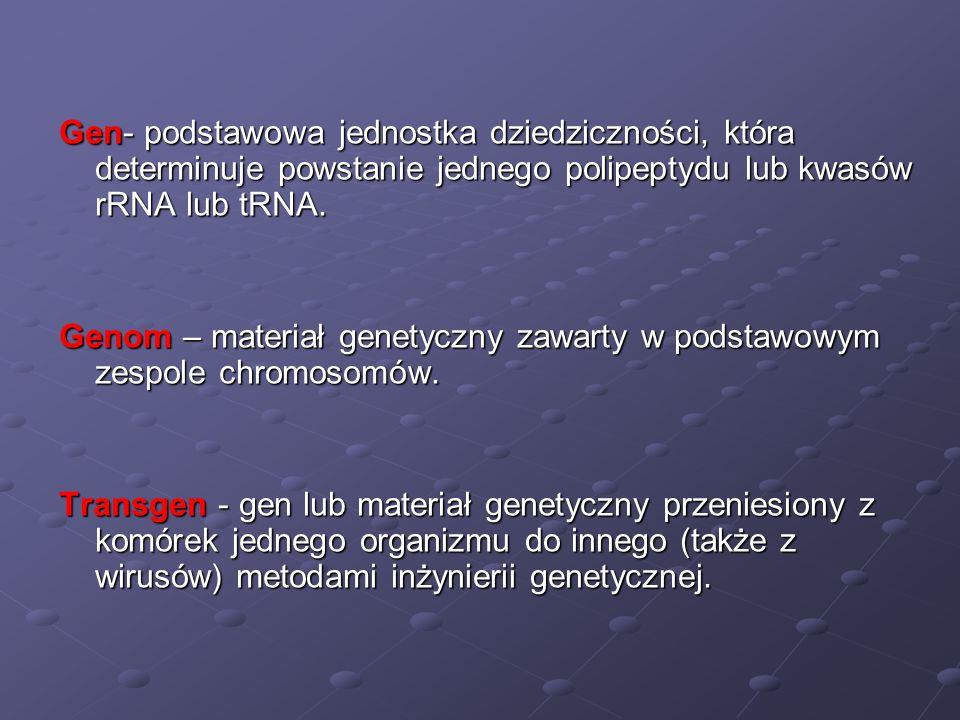 Gen- podstawowa jednostka dziedziczności, która determinuje powstanie jednego polipeptydu lub kwasów rRNA lub tRNA. Genom – materiał genetyczny zawart