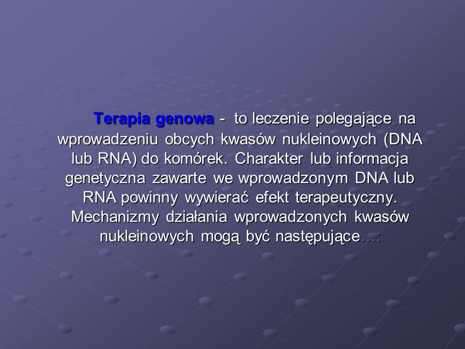 Terapia genowa - to leczenie polegające na wprowadzeniu obcych kwasów nukleinowych (DNA lub RNA) do komórek. Charakter lub informacja genetyczna zawar