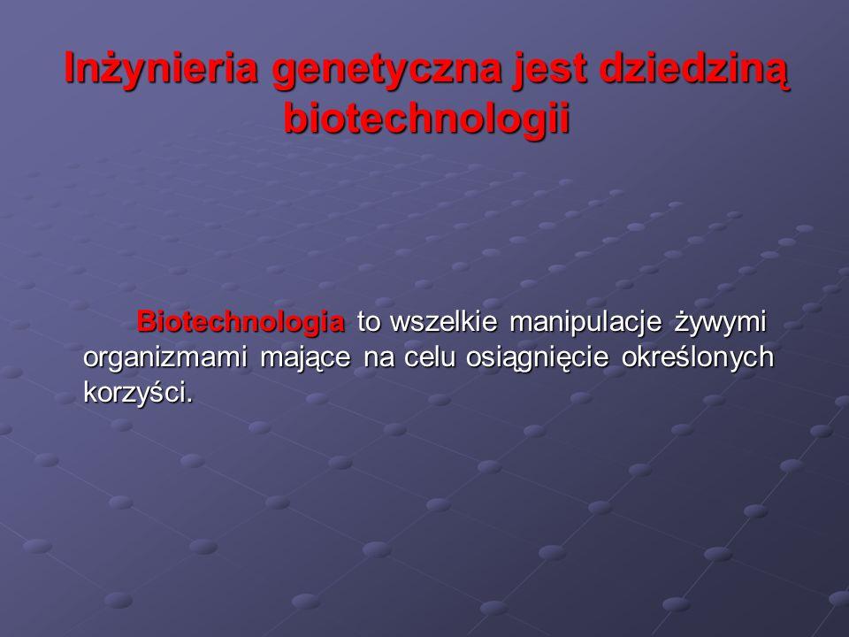 Inżynieria genetyczna jest dziedziną biotechnologii Biotechnologia to wszelkie manipulacje żywymi organizmami mające na celu osiągnięcie określonych k