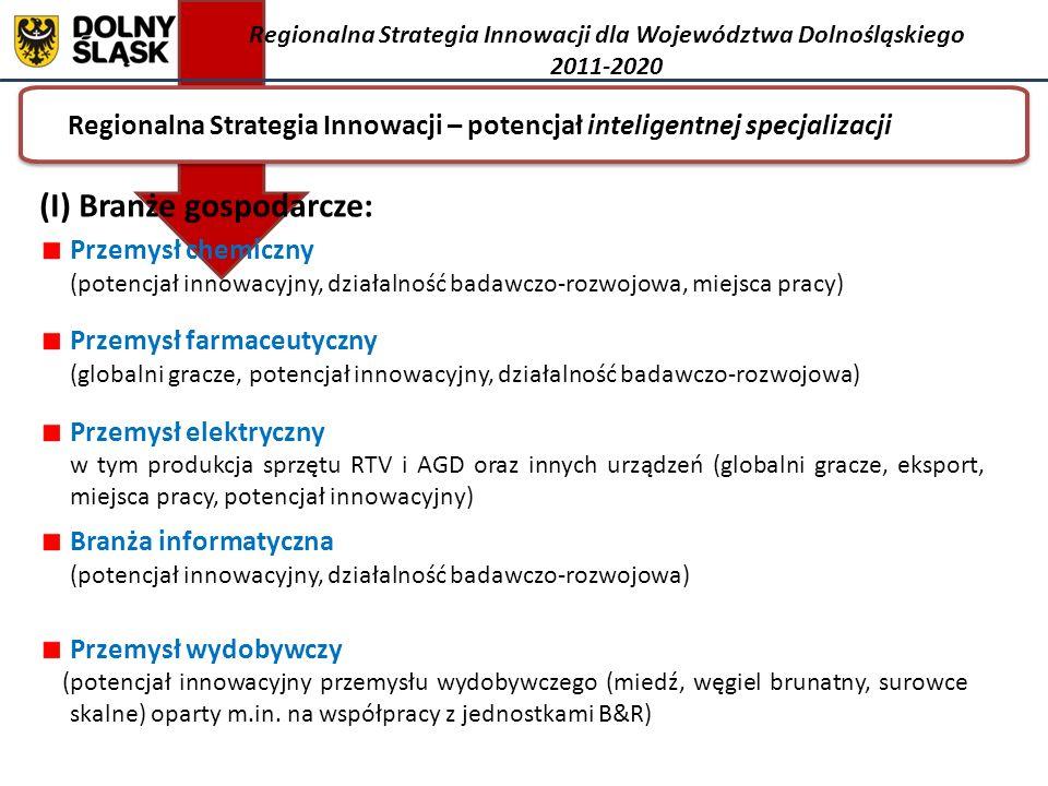 Regionalna Strategia Innowacji – potencjał inteligentnej specjalizacji Regionalna Strategia Innowacji dla Województwa Dolnośląskiego 2011-2020 (I) Branże gospodarcze: Przemysł chemiczny (potencjał innowacyjny, działalność badawczo-rozwojowa, miejsca pracy) Przemysł farmaceutyczny (globalni gracze, potencjał innowacyjny, działalność badawczo-rozwojowa) Przemysł elektryczny w tym produkcja sprzętu RTV i AGD oraz innych urządzeń (globalni gracze, eksport, miejsca pracy, potencjał innowacyjny) Branża informatyczna (potencjał innowacyjny, działalność badawczo-rozwojowa) Przemysł wydobywczy (potencjał innowacyjny przemysłu wydobywczego (miedź, węgiel brunatny, surowce skalne) oparty m.in.