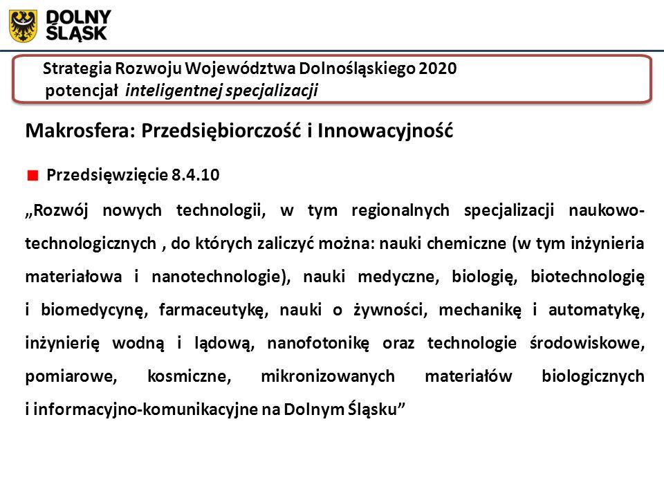 """Strategia Rozwoju Województwa Dolnośląskiego 2020 potencjał inteligentnej specjalizacji Strategia Rozwoju Województwa Dolnośląskiego 2020 potencjał inteligentnej specjalizacji Przedsięwzięcie 8.4.10 """"Rozwój nowych technologii, w tym regionalnych specjalizacji naukowo- technologicznych, do których zaliczyć można: nauki chemiczne (w tym inżynieria materiałowa i nanotechnologie), nauki medyczne, biologię, biotechnologię i biomedycynę, farmaceutykę, nauki o żywności, mechanikę i automatykę, inżynierię wodną i lądową, nanofotonikę oraz technologie środowiskowe, pomiarowe, kosmiczne, mikronizowanych materiałów biologicznych i informacyjno-komunikacyjne na Dolnym Śląsku Makrosfera: Przedsiębiorczość i Innowacyjność"""