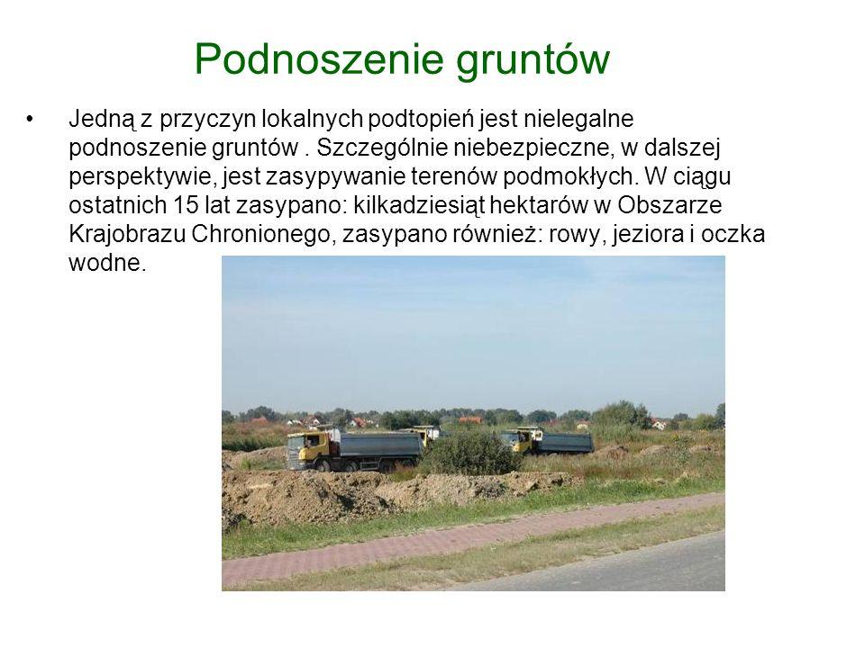 Podnoszenie gruntów Jedną z przyczyn lokalnych podtopień jest nielegalne podnoszenie gruntów.